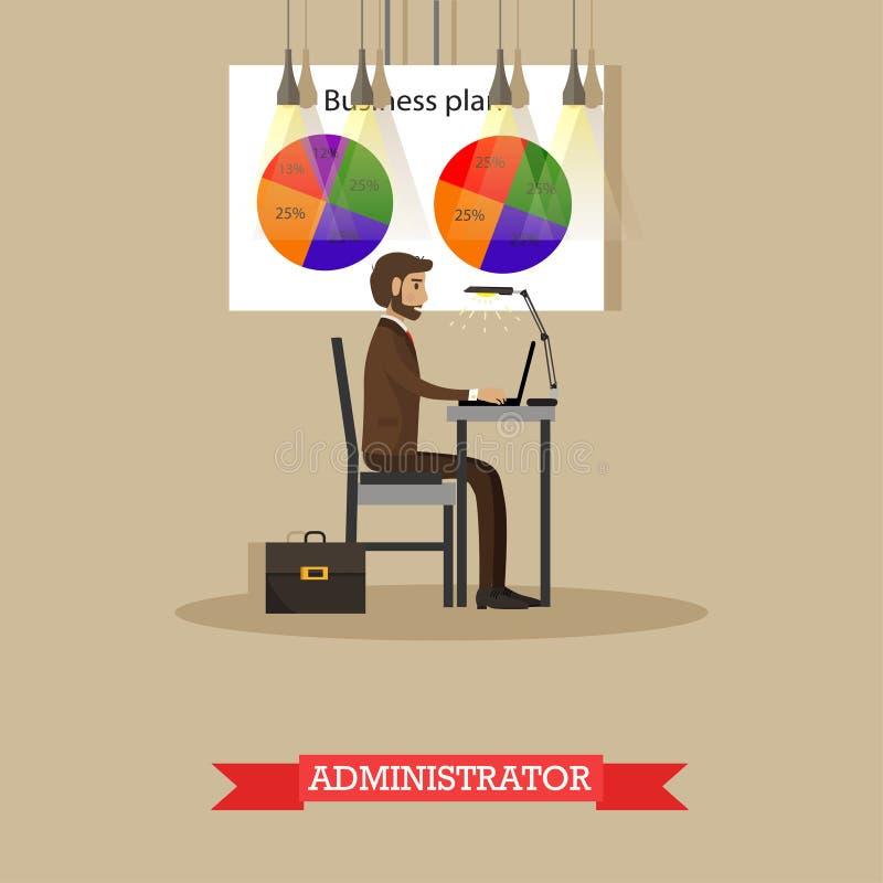 Trabalho do administrador da empresa com o computador no escritório Plano de negócios e carta de torta da parte de mercado Poster ilustração do vetor
