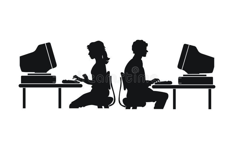 Trabalho do computador ilustração royalty free