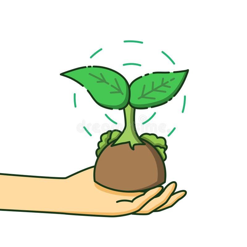 Trabalho do conceito da ecologia, o conceito de plantar árvores à mão fotos de stock royalty free
