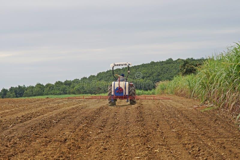 Trabalho do fazendeiro no campo da cana-de-açúcar, aplicação do herbicida, Kampangphet, Tailândia em November8, 2017 fotografia de stock royalty free