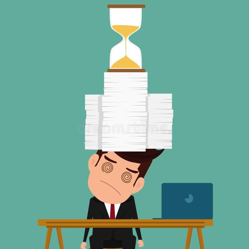 Trabalho do homem de negócio duramente e sobrecarga sob a pressão no fim do prazo urgente ilustração do vetor