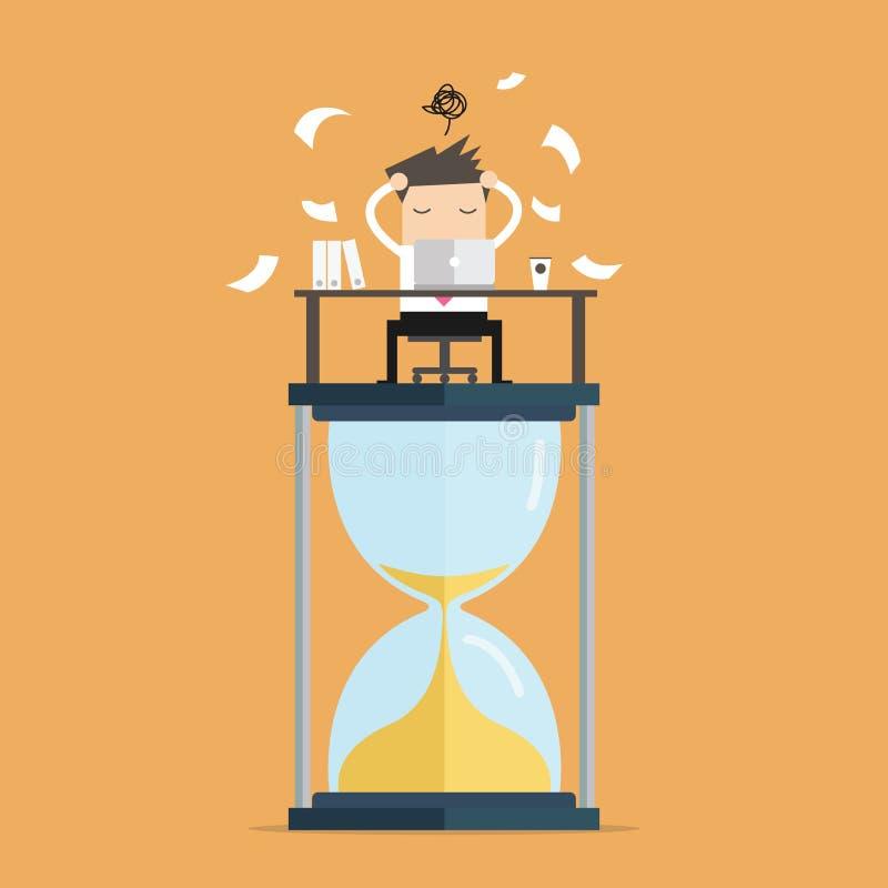 Trabalho do homem de negócios duramente no computador no conceito grande do fim do prazo do pulso de disparo da areia ilustração stock