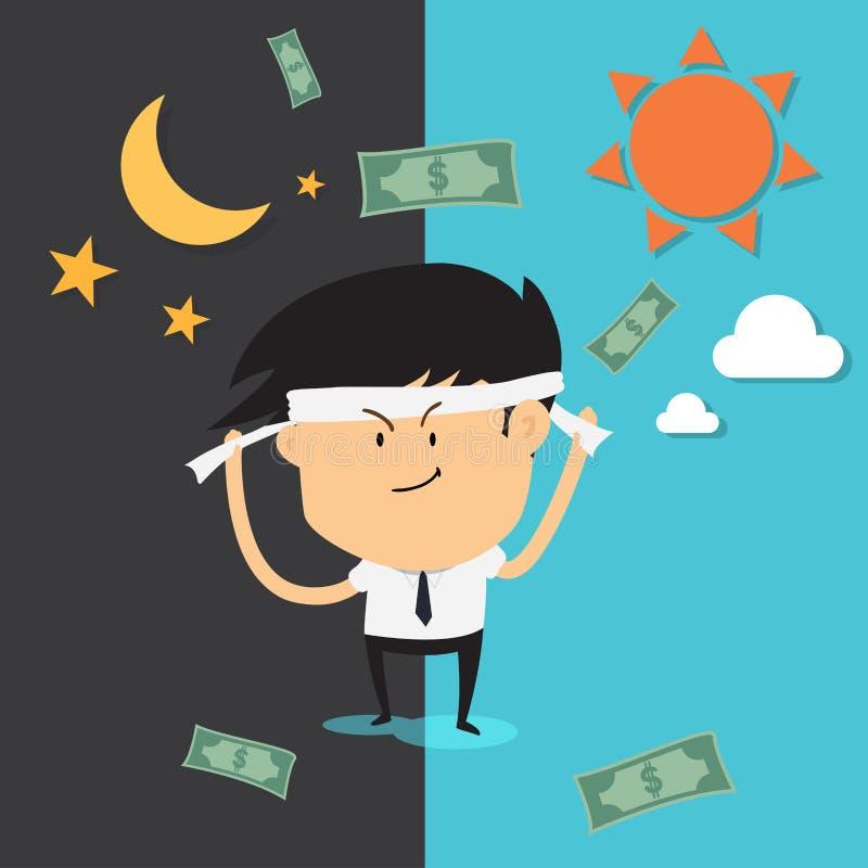 Trabalho do homem duramente e bônus do dinheiro ilustração stock