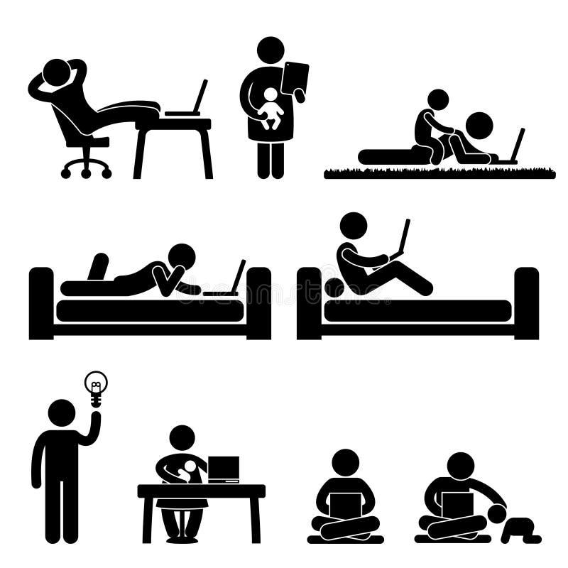 Trabalho do pictograma da liberdade do escritório Home ilustração royalty free