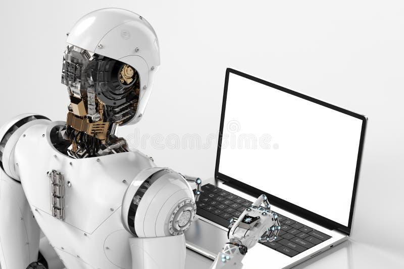 Trabalho do robô no portátil ilustração royalty free