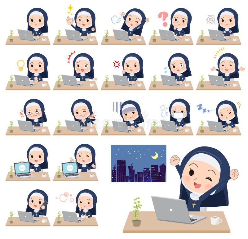 Trabalho do women_desk da freira ilustração stock