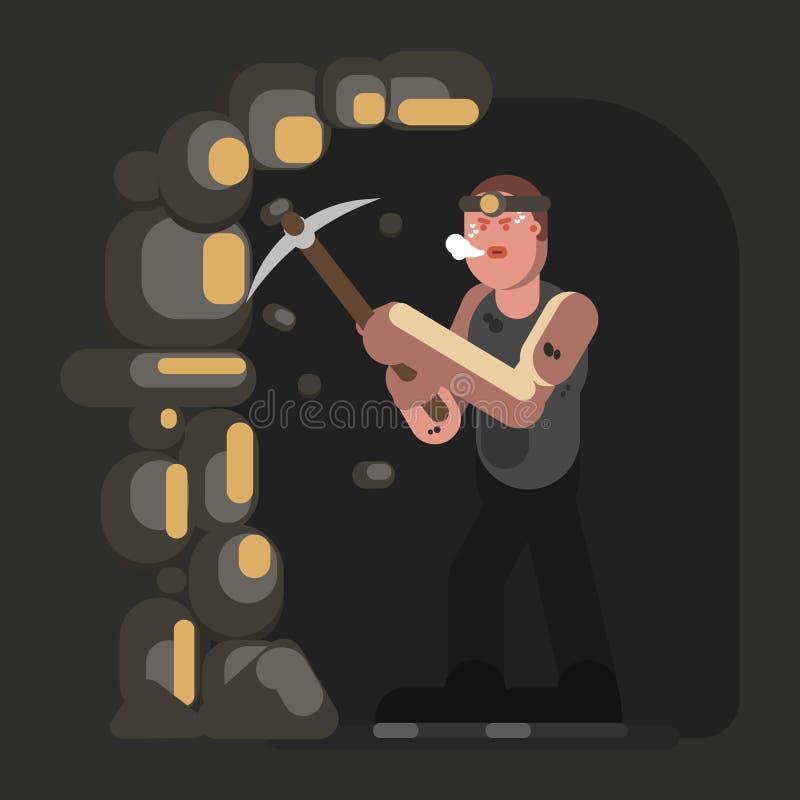 Trabalho duro do mineiro ilustração stock