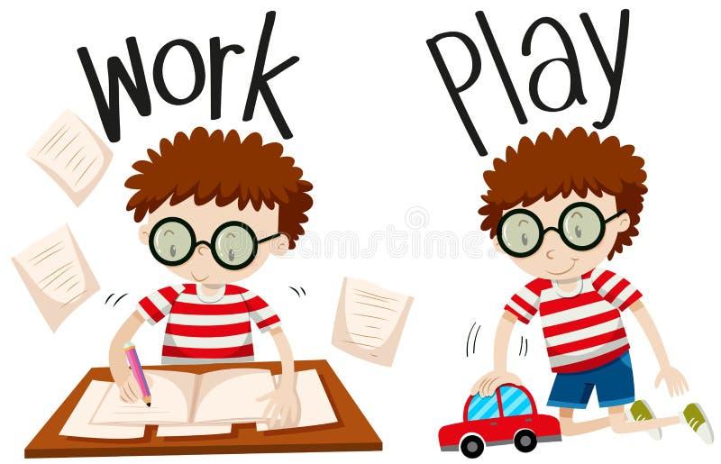 Trabalho e jogo opostos dos adjetivos ilustração stock