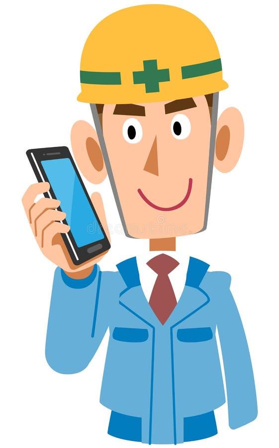 Trabalho em um canteiro de obras a falar no telefone celular, roupa de trabalho azul ilustração do vetor