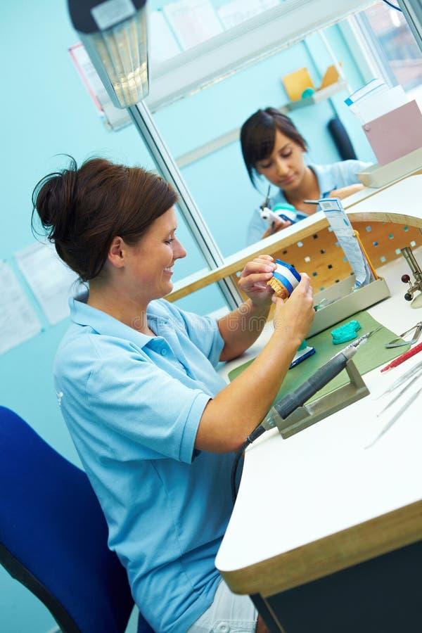 Download Trabalho Em Um Modelo Dos Dentes Foto de Stock - Imagem de produção, fêmea: 12808644