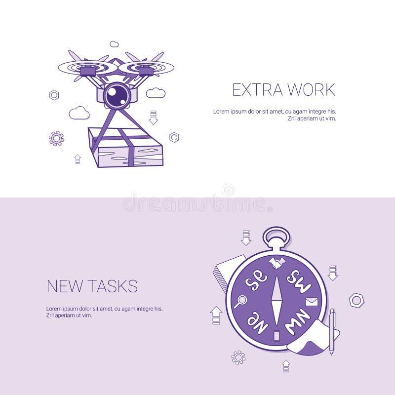Trabalho extra e bandeira nova da Web do molde do conceito das tarefas com espaço da cópia ilustração royalty free