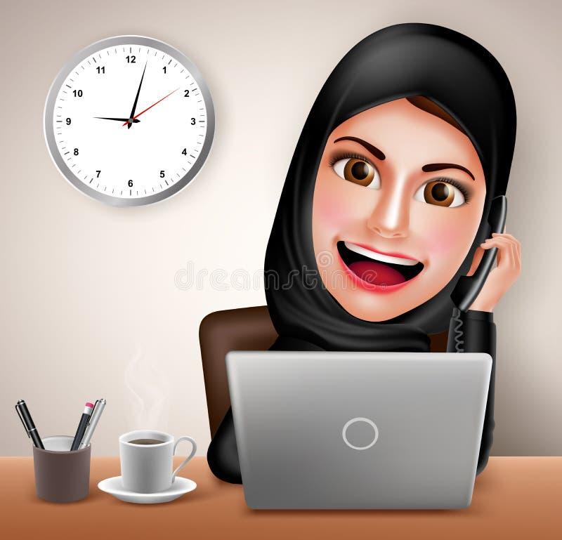 Trabalho feliz do caráter árabe muçulmano fêmea do vetor na mesa de escritório com portátil ilustração do vetor