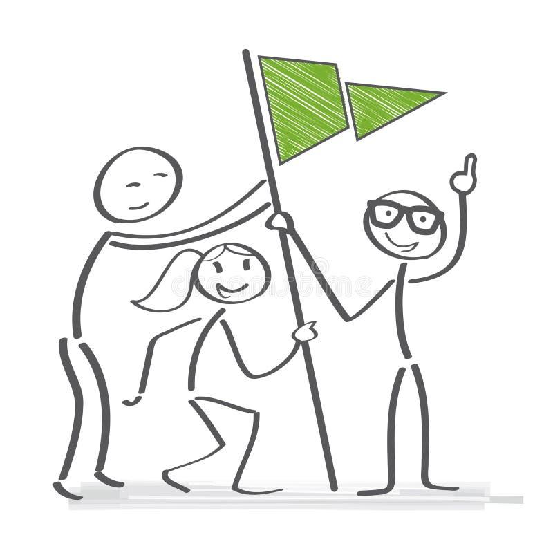 Trabalho junto - a equipe consegue o objetivo ilustração stock