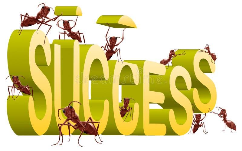 trabalho na criação do edifício do sucesso bem sucedida   ilustração do vetor