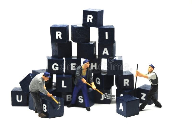 Trabalho no alfabeto imagem de stock