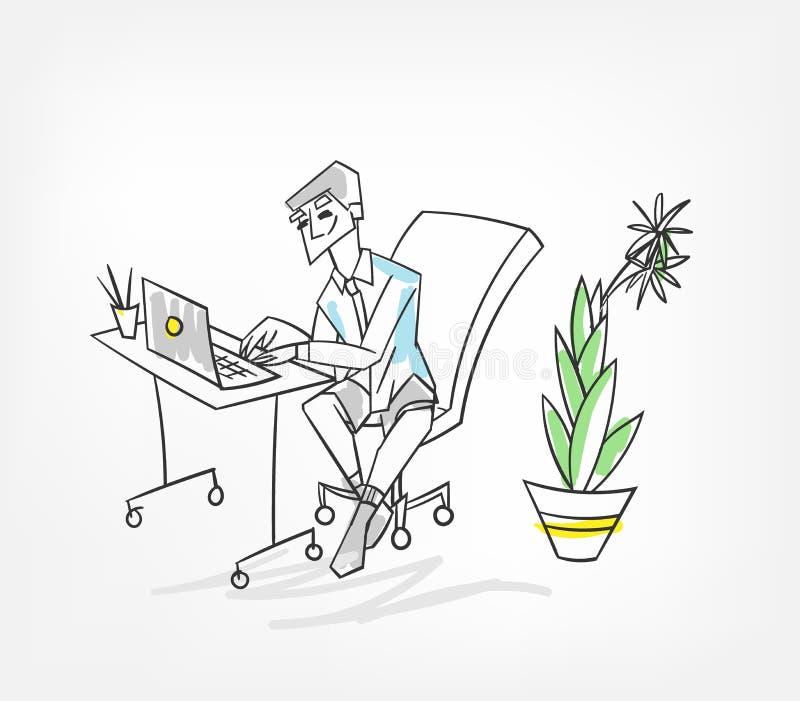 Trabalho no homem da ilustração do vetor do portátil do escritório ilustração royalty free