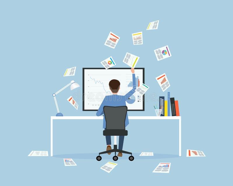 Trabalho ocupado do homem de negócios no espaço de trabalho e na crise econômica do negócio ilustração royalty free
