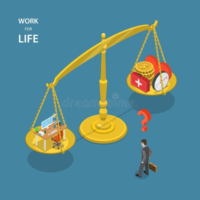 Trabalho para a ilustração lisa isométrica do vetor da vida ilustração stock