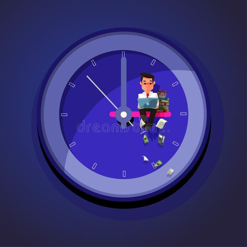 Trabalho tarde E ilustração do vetor