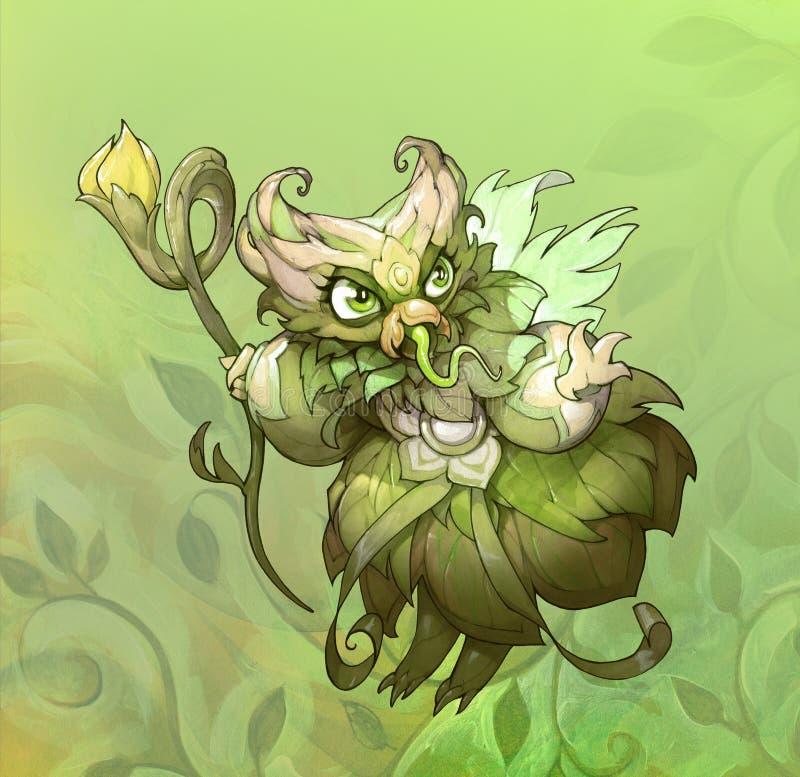 Trabalhos artísticos originais dos desenhos animados da fantasia com uma fada verde bonito e assustador do verão ilustração stock