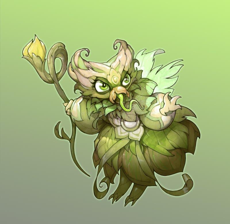 Trabalhos artísticos originais dos desenhos animados da fantasia com uma fada verde bonito e assustador do verão ilustração do vetor