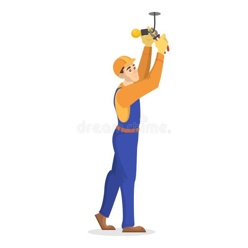 Trabalhos da eletricidade Trabalhador profissional no uniforme ilustração stock
