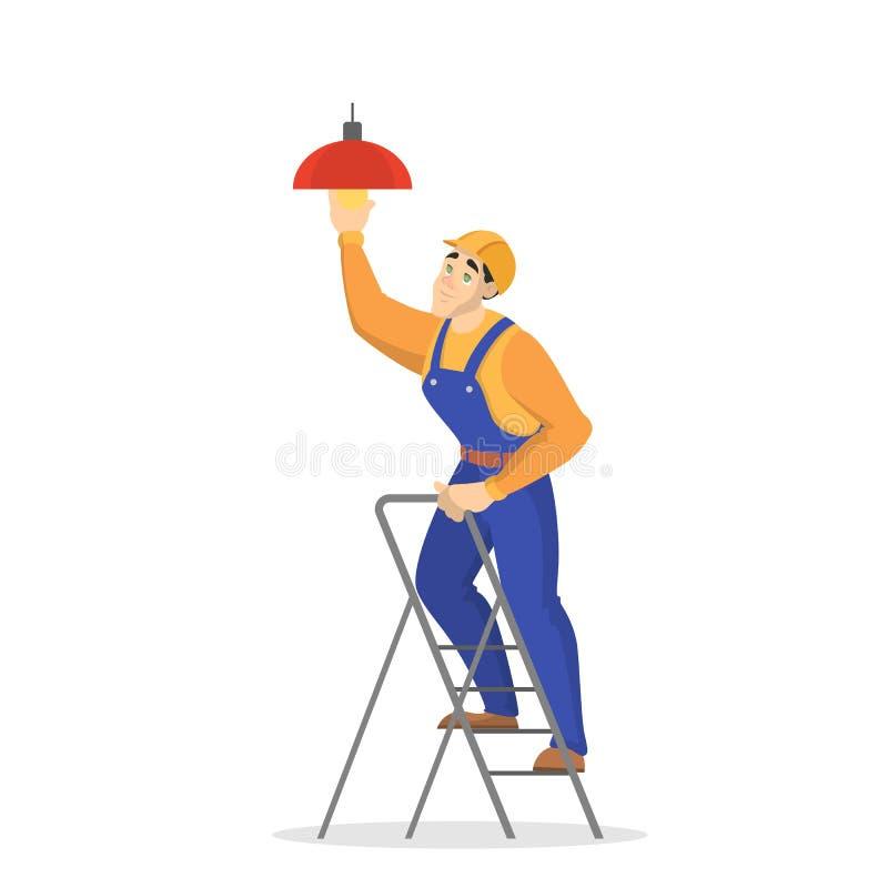 Trabalhos da eletricidade Trabalhador profissional no uniforme ilustração do vetor