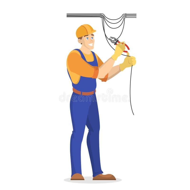 Trabalhos da eletricidade Trabalhador profissional no uniforme ilustração royalty free