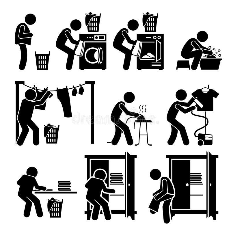 Trabalhos da lavanderia que lavam a roupa Clipart ilustração royalty free