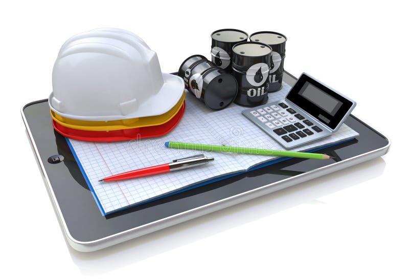 Trabalhos de engenharia no tablet pc - indústria do desenvolvimento fotografia de stock