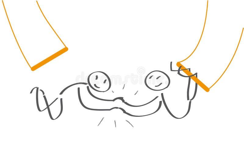 Trabalhos de equipa - artistas de trapézio em voo ilustração stock
