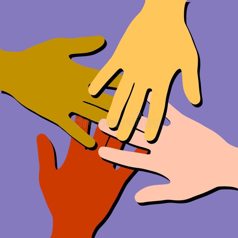 Trabalhos de equipa coloridos das mãos amiga ilustração stock