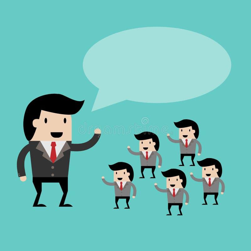 Trabalhos de equipa com discurso de abertura da ideia do líder a ilustração para o projeto de negócio, equipe do negócio conduziu ilustração stock