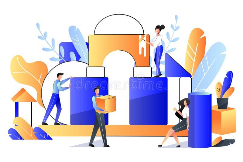 Trabalhos de equipa, conceito da cooperação Ilustração lisa do vetor Os povos constroem a construção dos cubos, metáfora do negóc ilustração do vetor