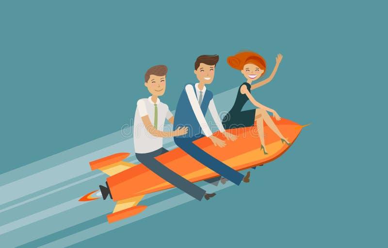 Trabalhos de equipa, conceito do negócio Sucesso, realização, ilustração do vetor do desenvolvimento ilustração do vetor