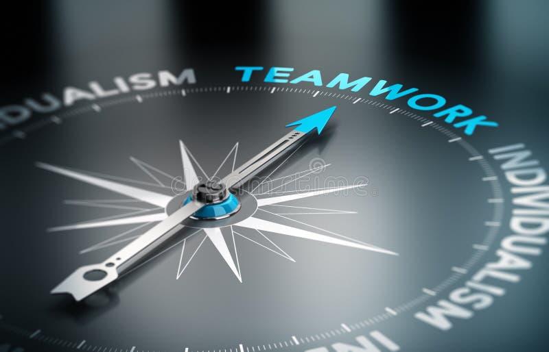 Trabalhos de equipa contra o individualismo ilustração do vetor