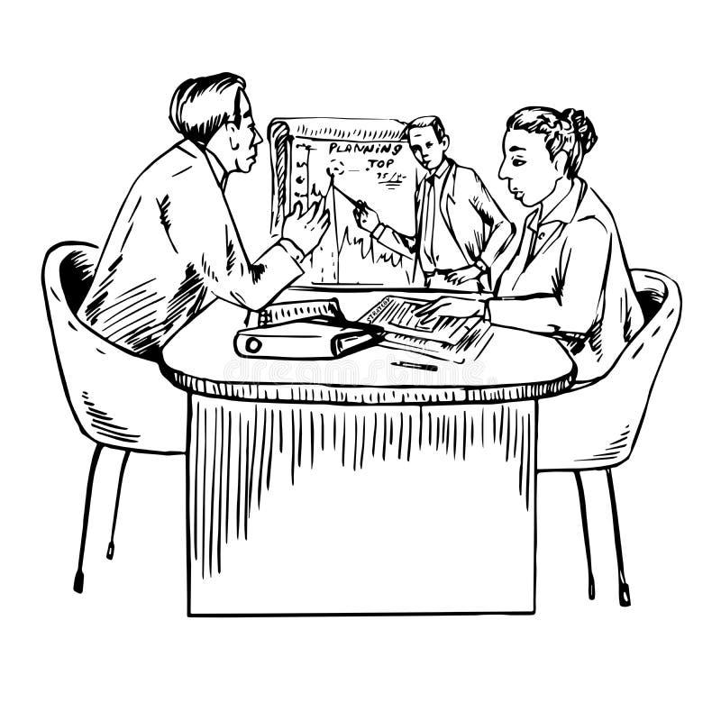 Trabalhos de equipa - criando a estratégia empresarial para tornar-se, planeando ilustração do vetor