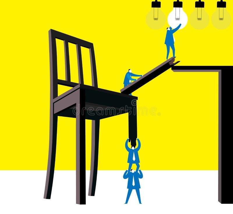 Trabalhos de equipa: Crie uma variedade de possível para ideias ilustração do vetor