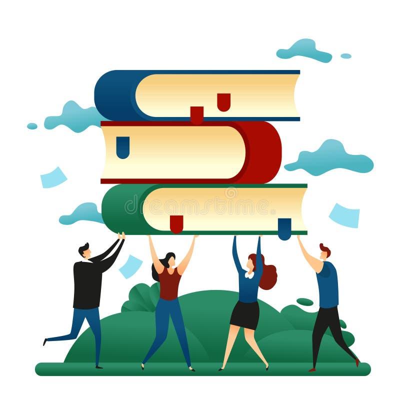 Trabalhos de equipa da cooperativa do escritório Executivos que guardam livros com conhecimento Ilustração do vetor do conceito d ilustração stock