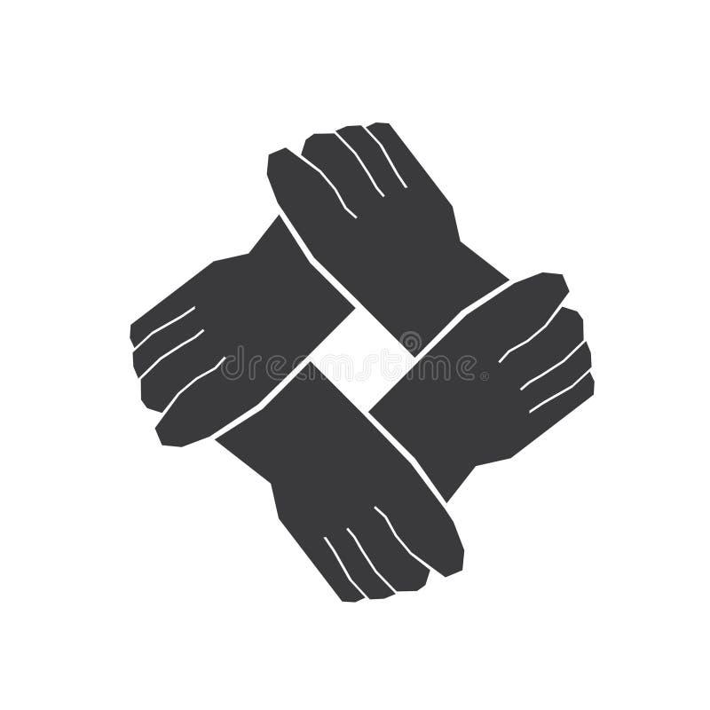 Trabalhos de equipa de quatro mãos ilustração stock