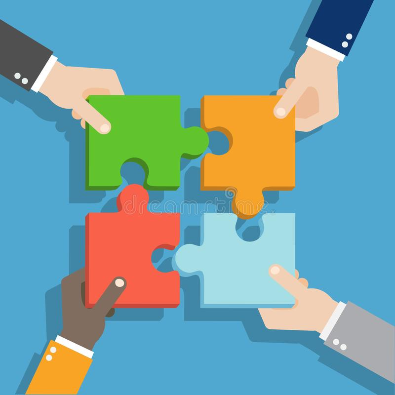 Trabalhos de equipa do conceito do negócio Solução, sucesso, estratégia e enigma Conceito dos trabalhos de equipa Mãos que prende ilustração royalty free