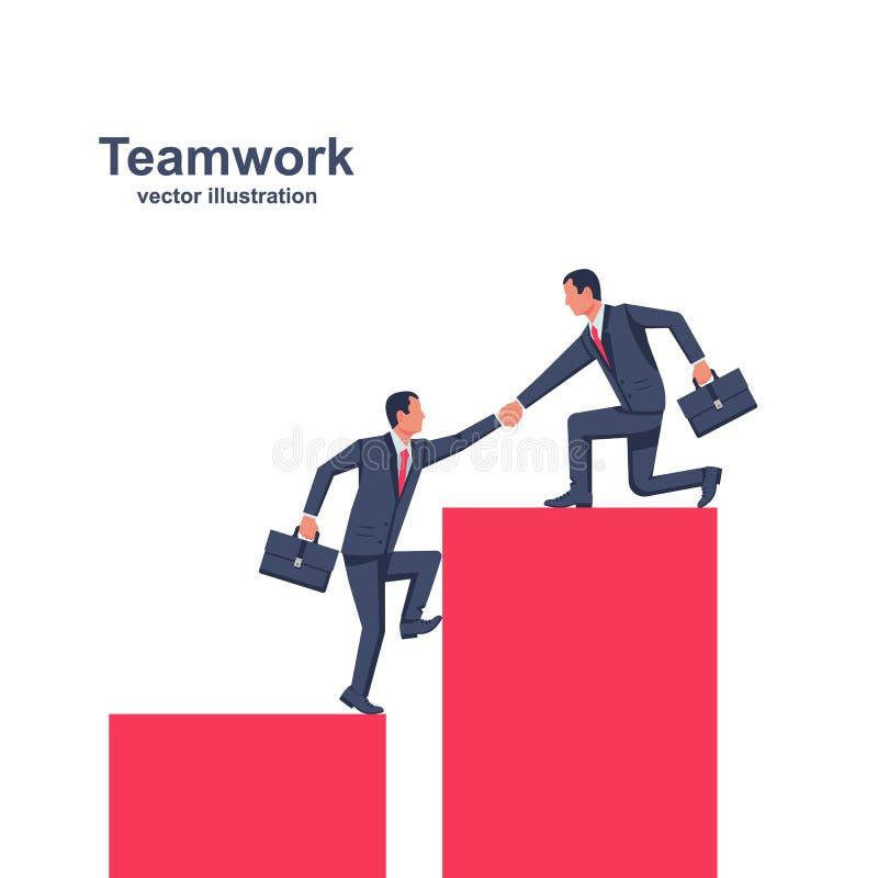 Trabalhos de equipa do negócio Conceito de ajuda do negócio ilustração do vetor