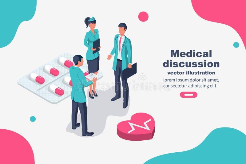 Trabalhos de equipa dos doutores Vetor médico do clique ilustração do vetor