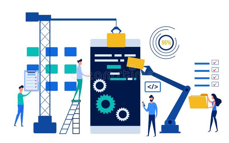 Trabalhos de equipa dos povos que trabalham o desenvolvimento de aplicações móvel para o Web site e o Web site móvel Conceito do  ilustração do vetor