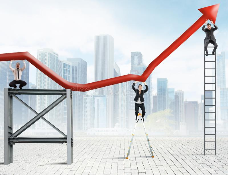 Trabalhos de equipa e lucro incorporado imagem de stock