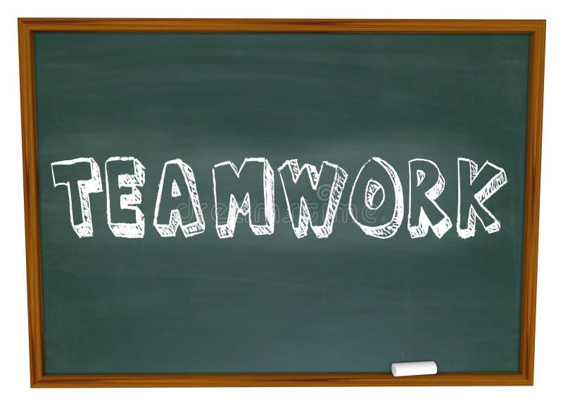 Trabalhos de equipa escritos no quadro ilustração stock
