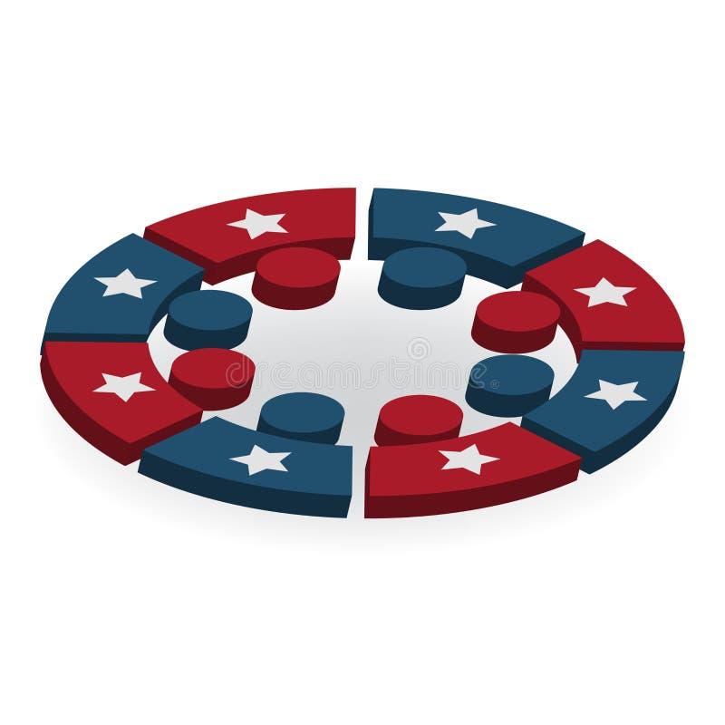 Trabalhos de equipa EUA que encontram a imagem do vetor do logotipo dos povos Figura americana imagem do emblema 3d da ilustração ilustração royalty free