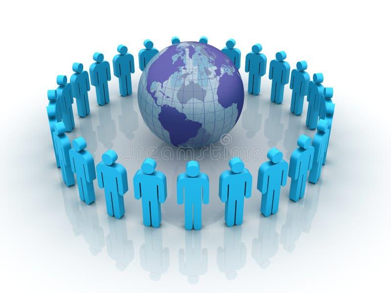 Trabalhos de equipa globais ilustração do vetor