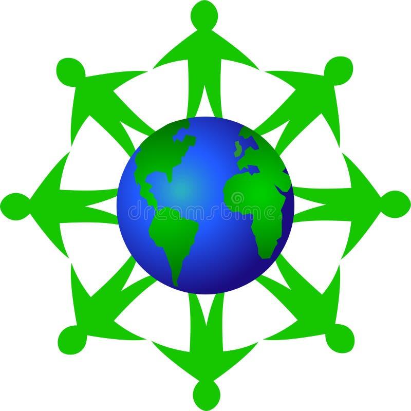 Trabalhos de equipa globais da ecologia/eps ilustração royalty free