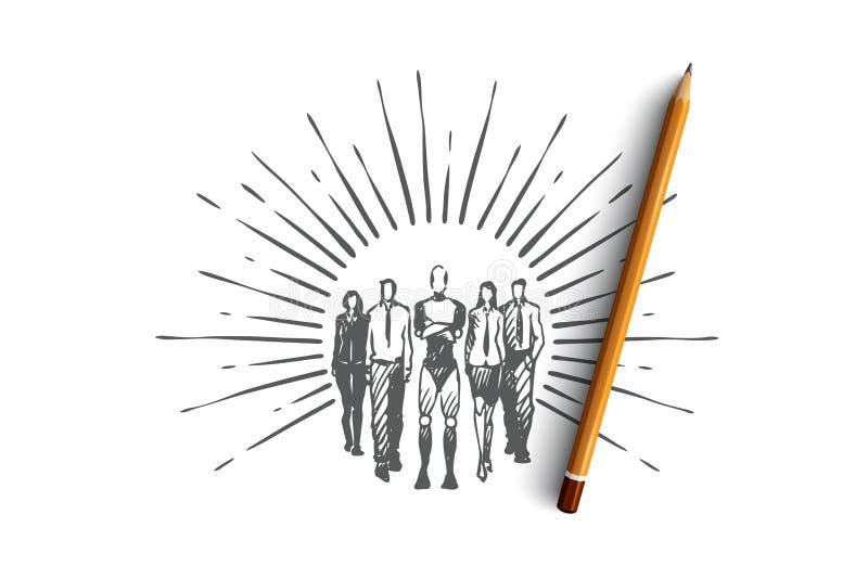 Trabalhos de equipa, HCI, automatização, tecnologia, conceito da equipe Vetor isolado tirado mão ilustração do vetor